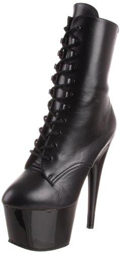 Pleaser ADORE-1020, Damen Halbschaft Stiefel Blk Leather/Blk
