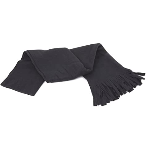 FLOSO® Ladies/Womens Plain Thermal Fleece Winter/Ski Scarf With Fringe (160cm x 30cm) (Black)