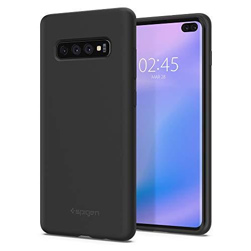 Spigen 606CS25783 Silicone Fit Kompatibel mit Samsung Galaxy S10 Plus Hülle, Silikon mit weichem Wildleder, Schwarz