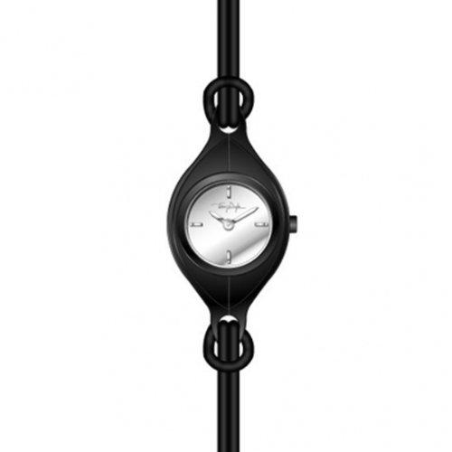 Thierry Mugler 4700804 - Reloj analógico de cuarzo para mujer con correa de piel, color negro