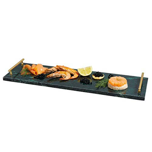 Kitchen Craft Masterclass Artesa rechteckig Marmor Buffet Serviertablett mit Griffen, grün, 50x 15cm