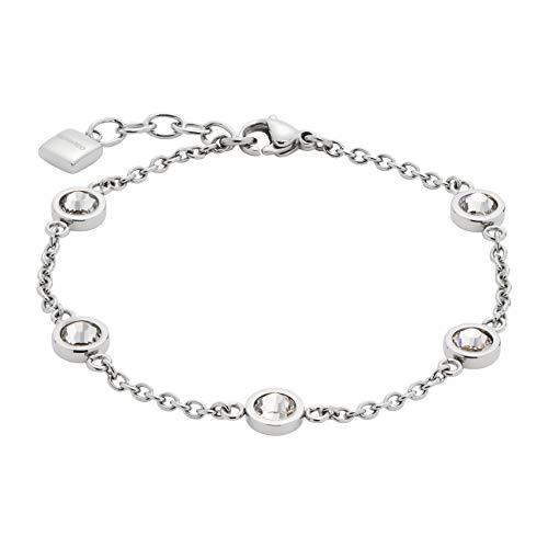 JEWELS BY LEONARDO Damen-Armband Essenza, Edelstahl mit klaren, facettierten Glassteinen, mit Karabinerverschluss, Länge 180 mm, 016291