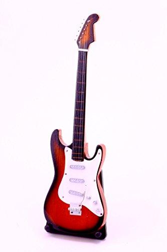 Miniatur E-Gitarre kleine Elektro Giratte 24 cm Handguitar Musikinstrument Mini Deko Gitarre Guitar (25 rot braun)