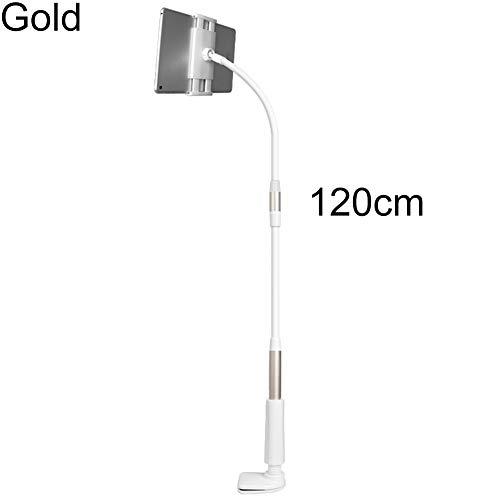 Sguan-wu Tablet Ständer Verstellbare, Ständer Tablet Halterung Flexibler Hals Tabelle Clip-on Tablet-Handyhalterung, für iPad Golden 85 cm