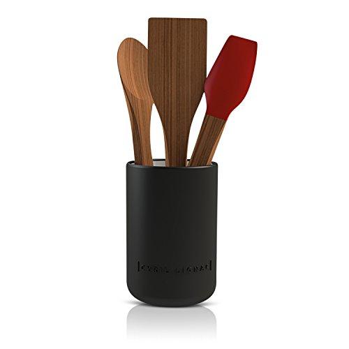 Cyril Lignac / Keramik Küchenutensilienhalter / 3 teilig / Ø 10,5 cm / 1L / Aufbewahrungsbecher aus Keramik / Farbe: Schwarz