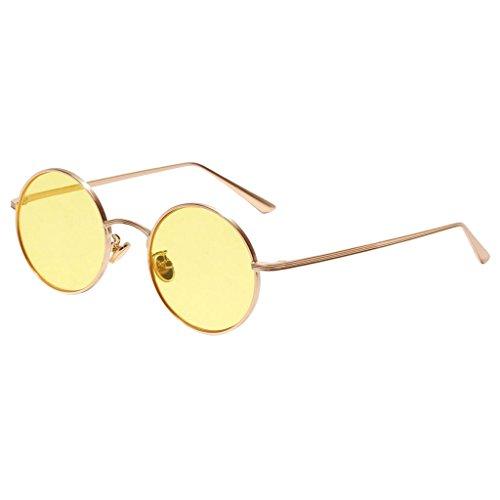 Baoblaze Retro Runde Sonnenbrille Nerdbrille Rundbrille UV 400 Schutz Brille für Reise Party Strand - Gelb, wie beschrieben