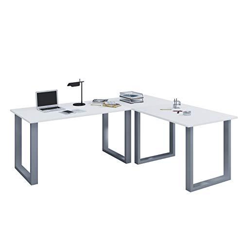 VCM Eckschreibtisch Schreibtisch Büromöbel Computertisch Winkeltisch Tisch Büro Lona 130 x 160 x 50 cm: Weiß -