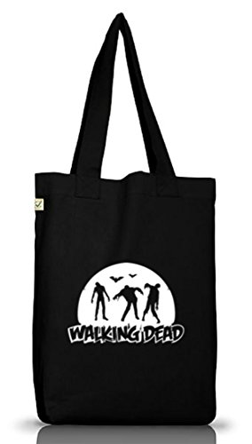 Shirtstreet24, WALKING DEAD, Halloween Jutebeutel Stoff Tasche Earth Positive (ONE SIZE) Black