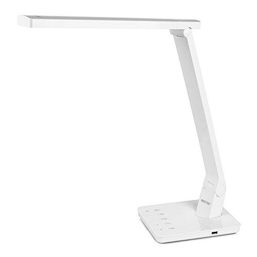 BESTEK LED Schreibtischlampe mit USB Anschluss dimmbar, Touchbedienung Tischleuchte 4 Farb und 5 Helligkeitsstufen, geeignet für Büro, Haus usw. Weiß