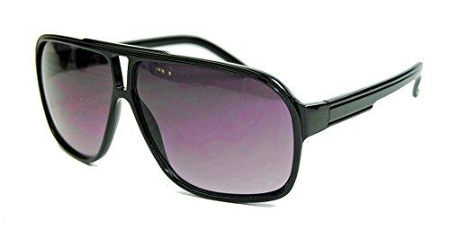 Retro Sonnenbrille für Herren 80er Jahre Old School Modell Flat Top Rahmen F9 (Schwarz glänzend)