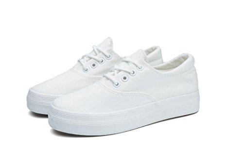 Sapatos De Senhora Shfang Clássicos Sapatos De Lona Grossa Branca Pequena Lazer Movimento Confortável Estudante Branco Preto Diária Inferior