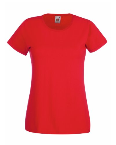 Fruit Of The Loom Lady-Fit Valueweight Damen T-Shirt (XS) (Rot) XS,Rot