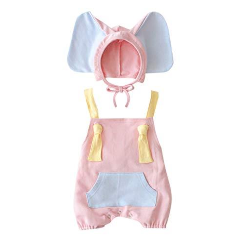 Elefant Rosa Kostüm Kleinkind - Muamaly Bekleidungsset Baby Mädchen Jungen Neugeborenes - Sleeveless Romper + Cartoon Elefant Hut Kostüm Outfits Set - 2 Stück Outfits Kleinkind Set Bekleidungssets (Rosa, 100)