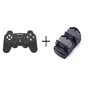 iprotect 2in1 Premium Wireless Controller für Playstation 3 Smooth Touch Gamepad PS3 in Schwarz + Ladestation