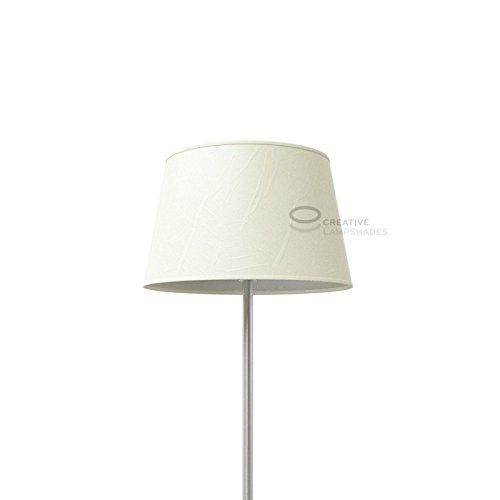 Creative Lampshades Oval verkleideter Lampenschirm Weiß Palmenblatt - Unteren D. 31x22 cm-Uberen d. 25x17 cm- H. 20 cm, E27 Für Standleuchten