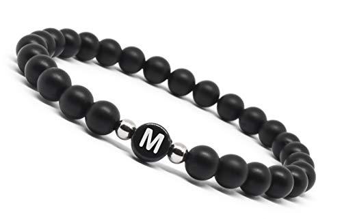 nal Love Single Edition Black - Personalisierte Partnerarmbänder aus Achat - Natursteinen mit Hochwertigem Edelstahl zwischen Perlen. (Armband in Schwarz - Buchstabe M) ()