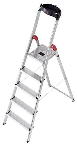 Preisvergleich Produktbild Hailo L60 Alu-Haushaltsleiter (5 Stufen, EasyClix, Ablageschale, Gelenkschutz, belastbar bis 150 kg) 8160-507