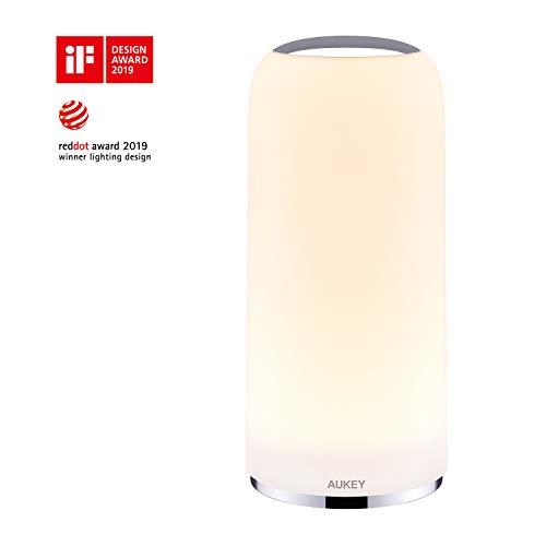 AUKEY Lámpara de Mesa Lámpara de Noche Táctil con Luz Blanca Cálida para Habitación y Sala de Estar...