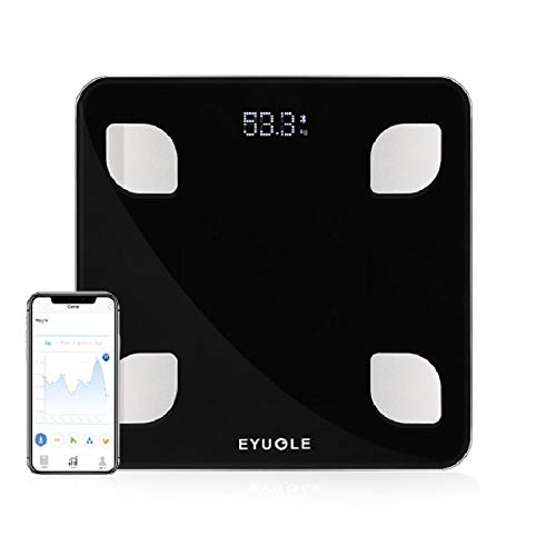 EYUGLE Bilancia Pesapersone Digitale Bluetooth Wireless per iOS e Android Misura il Peso, BMI, BMR