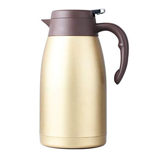 FYCZ Edelstahl Pumpe Isolierflasche Krug - ideal für heiße und kalte Getränke Getränke Tee Kaffee Wasser (groß (2L) (Farbe : Champagner) -