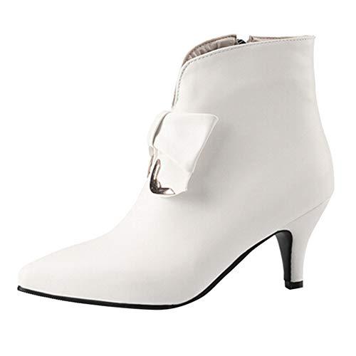 Rawdah Botas Mujer Invierno Botas de Mujer Zapatos de Cuero de Moda para Mujer Cremallera de Nudo Mariposa...