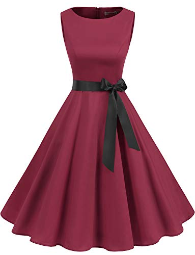 Gardenwed Damen 1950er Vintage Cocktailkleid Rockabilly Retro Schwingen Kleid Faltenrock Dark Red XL