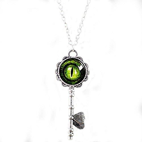 Ohrstecker Messing antik Drachen-Auge Schlüssel Halskette Bibelzitat Anhänger Schlüsselkette ()