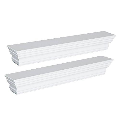 Homcom set mensole bianche 2pz design moderno da parete e muro legno