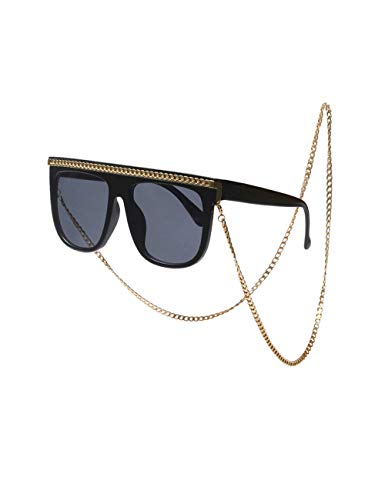 besbomig Occhiali da Sole Donna Retrò Occhiali da Vista Rettangolari - Vintage UV400 Protezione Catena di Metallo Shades Sunglasses Unisex