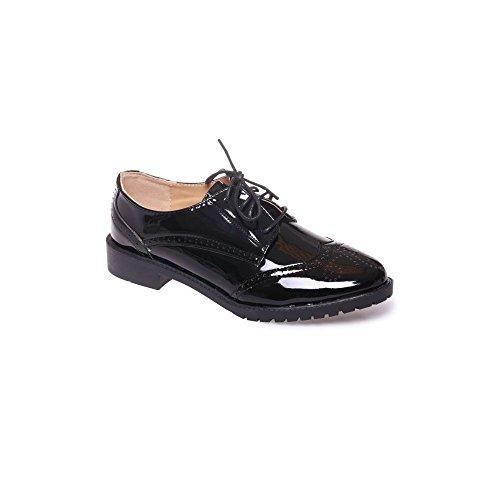 Derbies femme noires vernies semelle interieure cuir baskets elegantes talon carre a motifs - Noir - Taille 39 EU