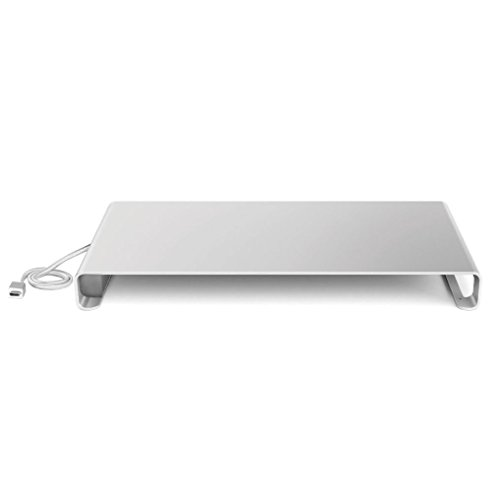 Desire2 Monitor Riser Stand with Type C to 4 Port USB HUB [Output 3X Standard USB 1x Type C] View My Screen at Home Aluminium Riser Desk Stand for iMac, MacBook, Laptop, Notebook, Computers and PC