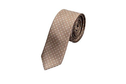 Notch Schmale Krawatte aus Seide für Herren - Twill in Beige Metallic mit weißn Punkten Metallic-twill