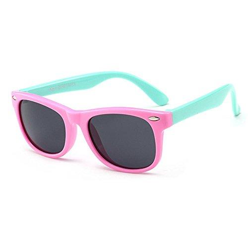 AOLVO Strahlenschutz Sonnenbrille, 100% UV-Tac Polarisierte Sonnenbrille für Kinder, Baby, Kleinkind, Kinder, Jungen und Mädchen Pink+Cyan