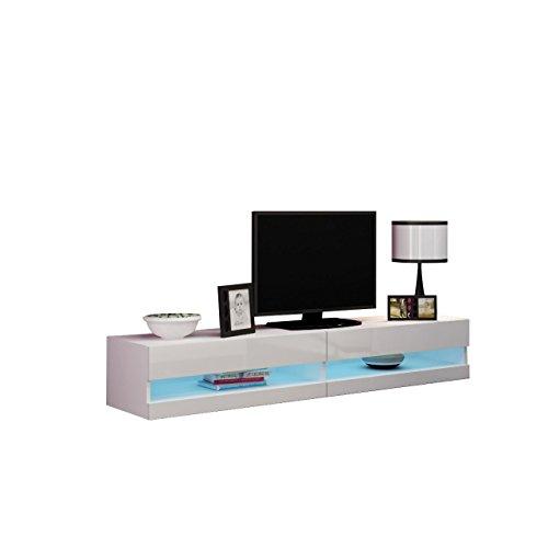Mirjan24  TV Lowboard Vigo New 180 cm, TV Tische, TV Schrank, Fernsehschrank, Hängeschrank, Hochglanz (mit Blauer LED Beleuchtung, Weiß/Weiß Hochglanz) - Tv New