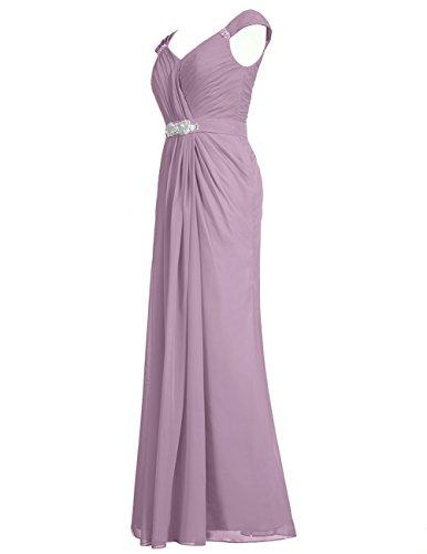 Dresstells Robe de cérémonie Robe de demoiselle d'honneur col en V longueur ras du sol Champagne