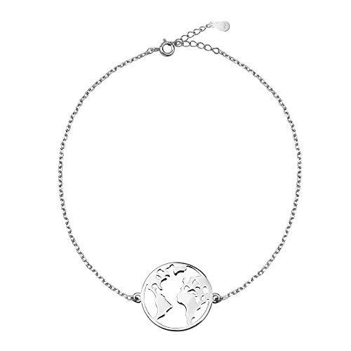 SOFIA MILANI Damen Armband Weltkarte Weltkugel Anhänger Silber 30175