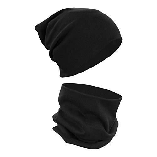 Alkato Unisex Beanie Mütze und Schal Set Uni, Farbe: Schwarz, Größe: Einheitsgröße