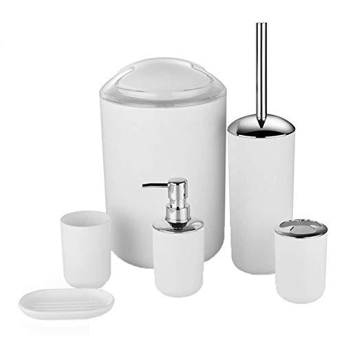 MXECO Kreative European Plastic Badezimmer 6Pcs Set Körperpflege-Set Badezimmer Hotel Haushalt Abfalleimer Zahnbürste Cup Supplies (weiß)