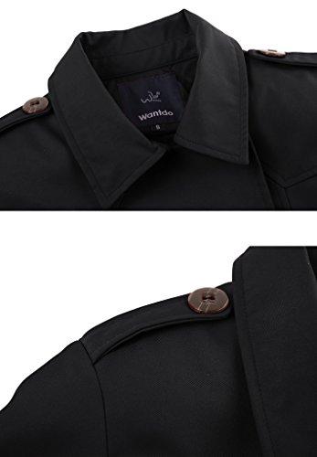 Wantdo Damen Mantel Zweireiher Lange Trenchcoat mit Gürtel Schwarz