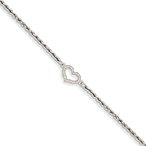 IceCarats Designer Jewellery 14K White Gold Rope With Heart Anklet In 10.00 Inch
