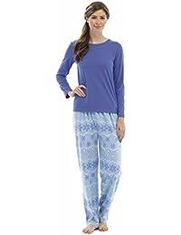 Damen Fleece Pyjama Set mit Stickdetail