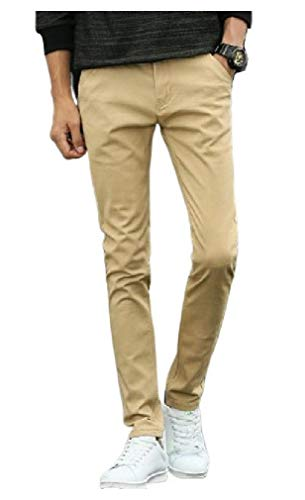 CuteRose Men's Outdoors Straight Zip Up Pockets Casual Trousers Chino Pant Khaki 36 Classic Pleated Chino-khaki