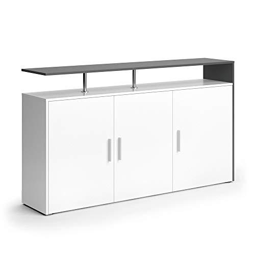 Vicco Sideboard Amato Kommode Schrank Weiß Anrichte Fernsehschrank TV (Weiß Anthrazit) (Sideboard Bücherregal)