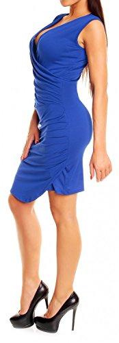 Glamour Empire Femmes été Sans Manches Ruché Surplis V Encolure Robe 045 Bleu Royal
