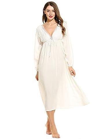Ekouaer Women's Cotton Victorian Vintage Lace Long Nightgown Nightdress (White,