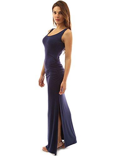 PattyBoutik Damen ärmelloses Sommer Maxi Kleid mit Rundhalsausschnitt und Seitenschlitz (Marineblau M 40) -