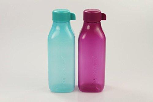 TUPPERWARE To Go Eco Ökoflasche Quader Flasche dunkel türkis + dunkel pink 500ml 29748