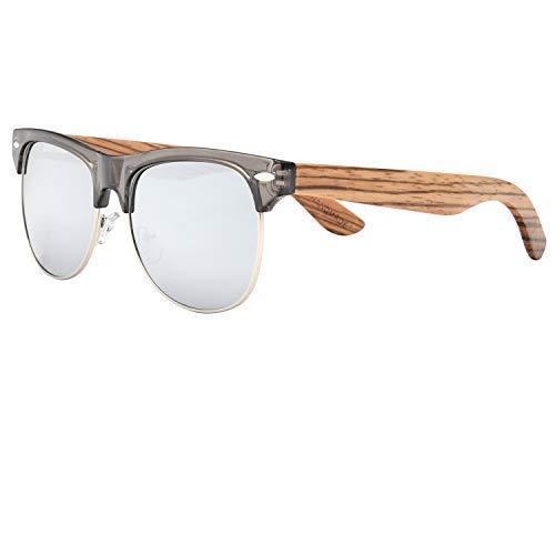 ABLIBI - Clubmaster, Holz, Polarisiert, Sonnenbrille Unisex-Erwachsene Herren