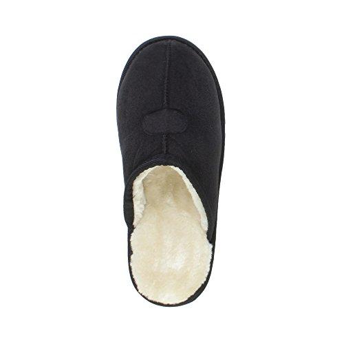 Pantofole Da Uomo Di Lusso Caldo Inverno Foderato Con Morbide Pantofole Da Regalo Nere