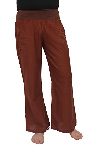 ufash Yogahose aus Baumwolle, Pumphose, mit Stretch-Bund und Zwei praktischen Taschen, L/XL, Dunkelbraun 2